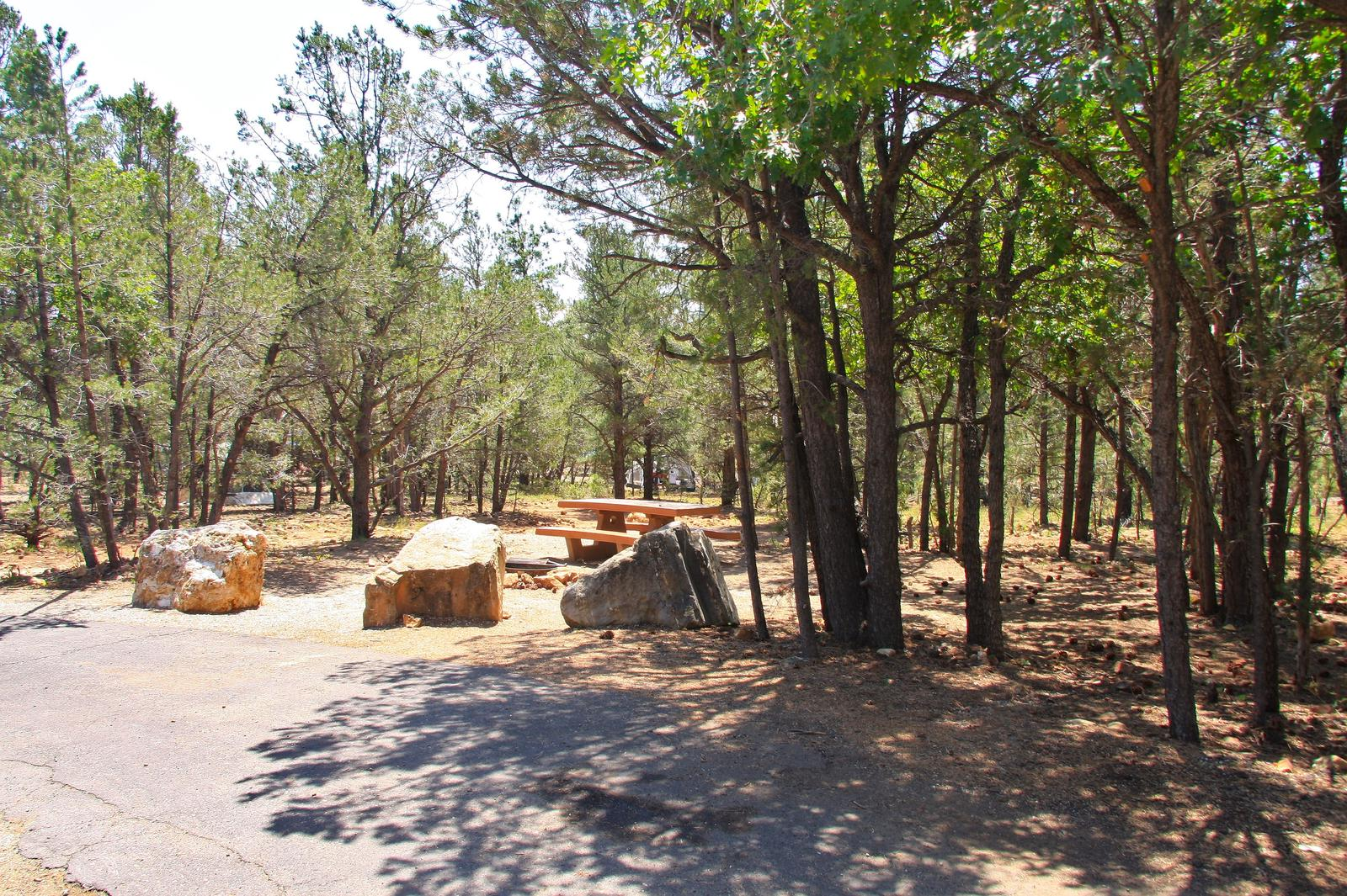 Picnic table, fire pit, and parking spot, Mather CampgroundPicnic table, fire pit, and parking spot for Juniper Loop 132, Mather Campground