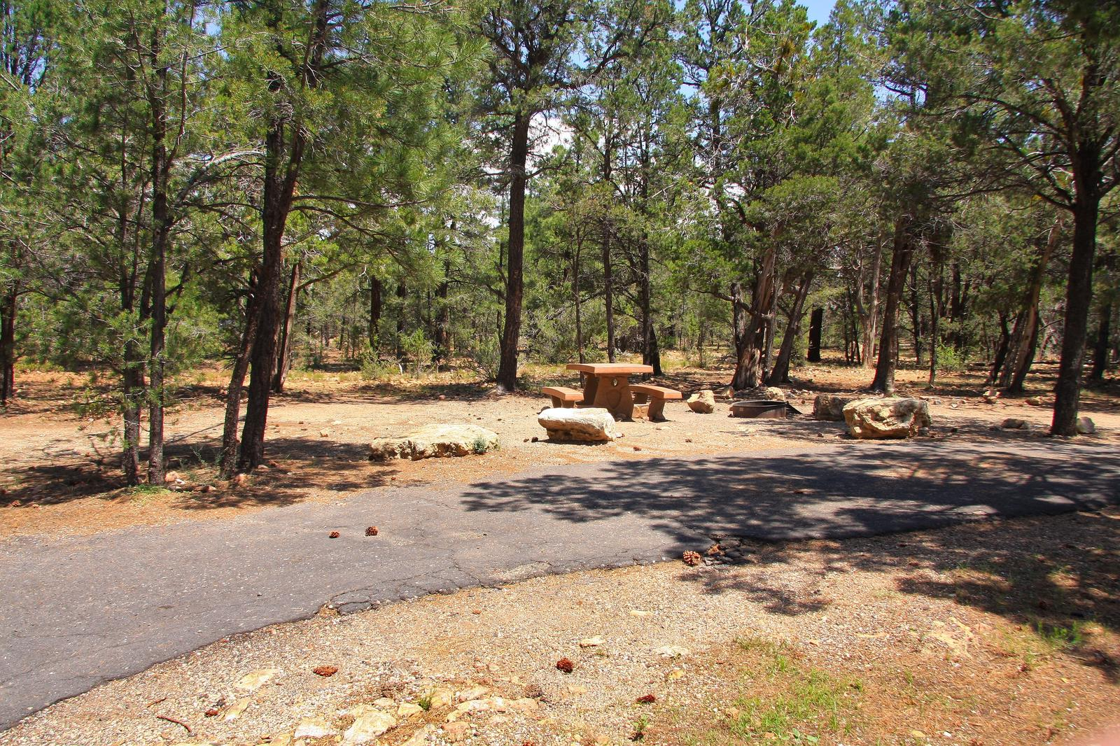 Picnic table, fire pit, and parking spot, Mather CampgroundPicnic table, fire pit, and parking spot for Juniper Loop 134, Mather Campground