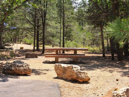 Picnic table, fire pit, and parking spot, Mather CampgroundPicnic table, fire pit, and parking spot for Juniper Loop 135, Mather Campground