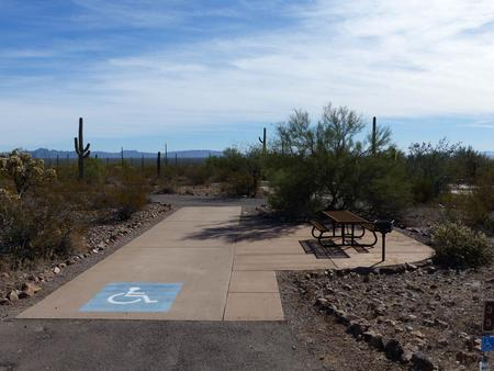 Pull-thru campsite with picnic table and grill, cactus and desert vegetation surround site.  Handicap logo is painted on the groundSite 33