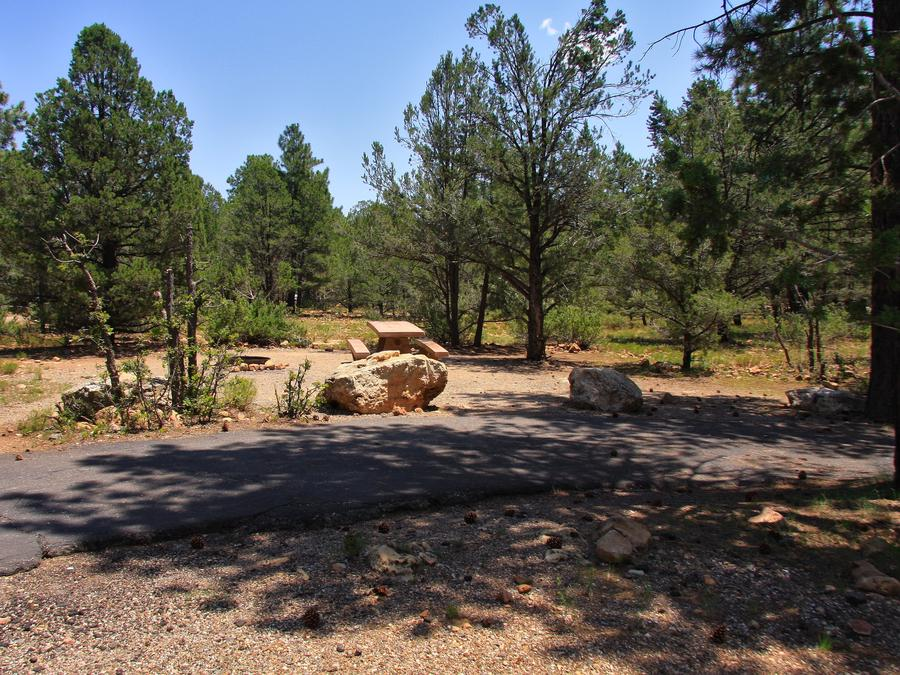 Picnic table, fire pit, and parking spot, Mather CampgroundPicnic table, fire pit, and parking spot for Juniper Loop 141, Mather Campground
