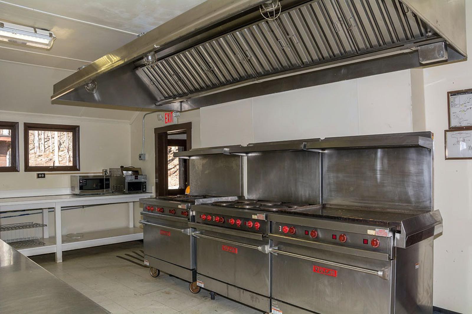 Ovens and Ranges in the Misty Mount Dining Hall Kitchen