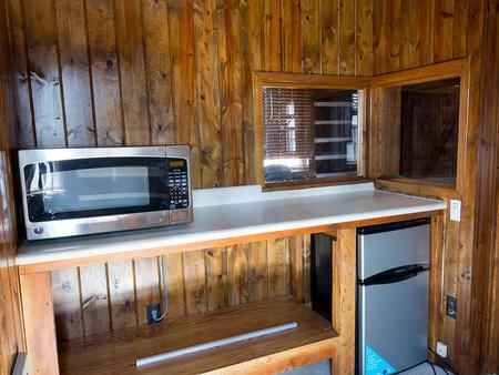 Camp Misty Mount Cabin 16 Kitchenette with Mini Fridge and Microwave