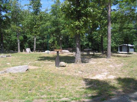 Group site showing picnic tables, vault toilet, fire ring, lantern post and grillGroup site