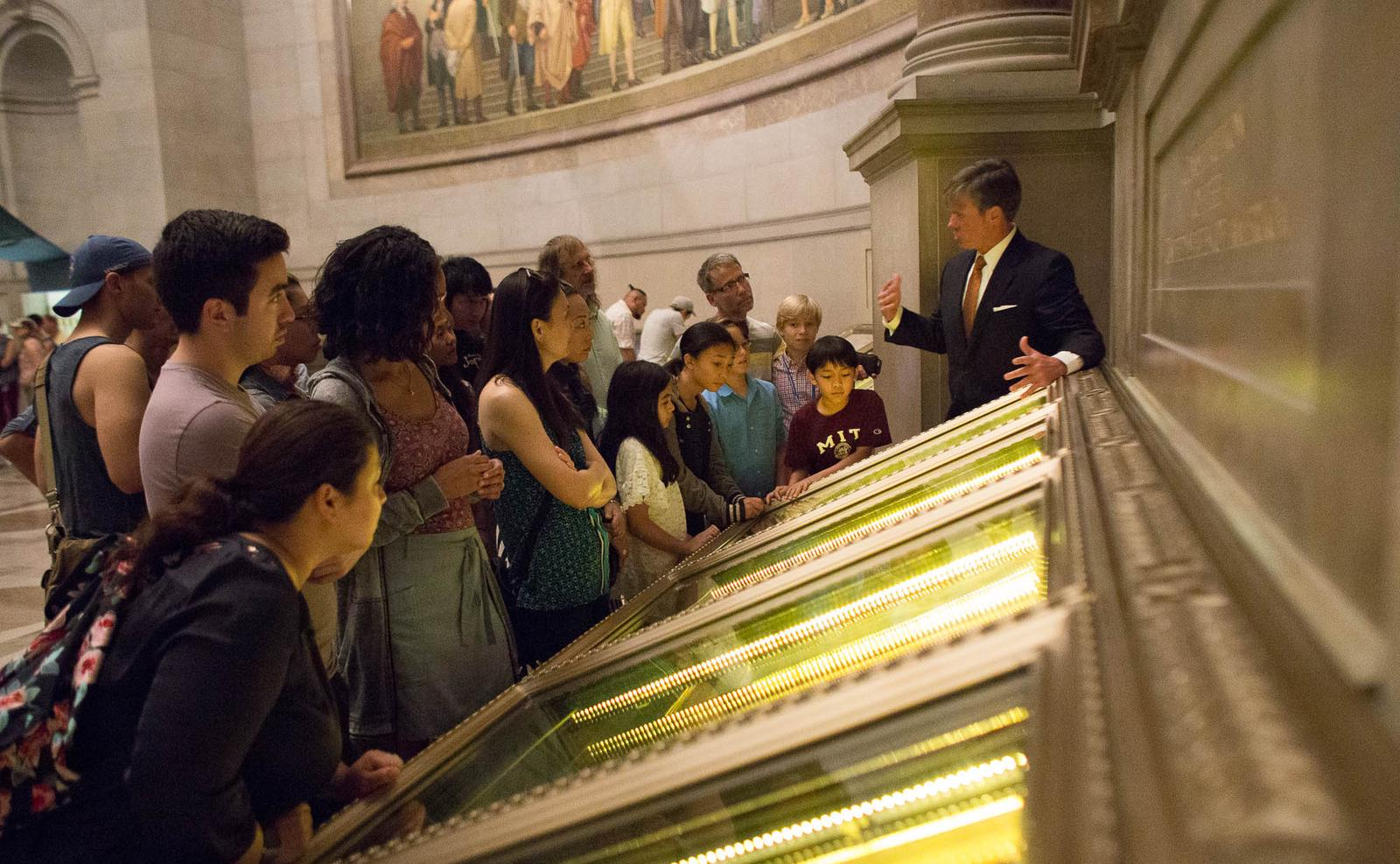 Visitors viewing the U.S. Constitution.
