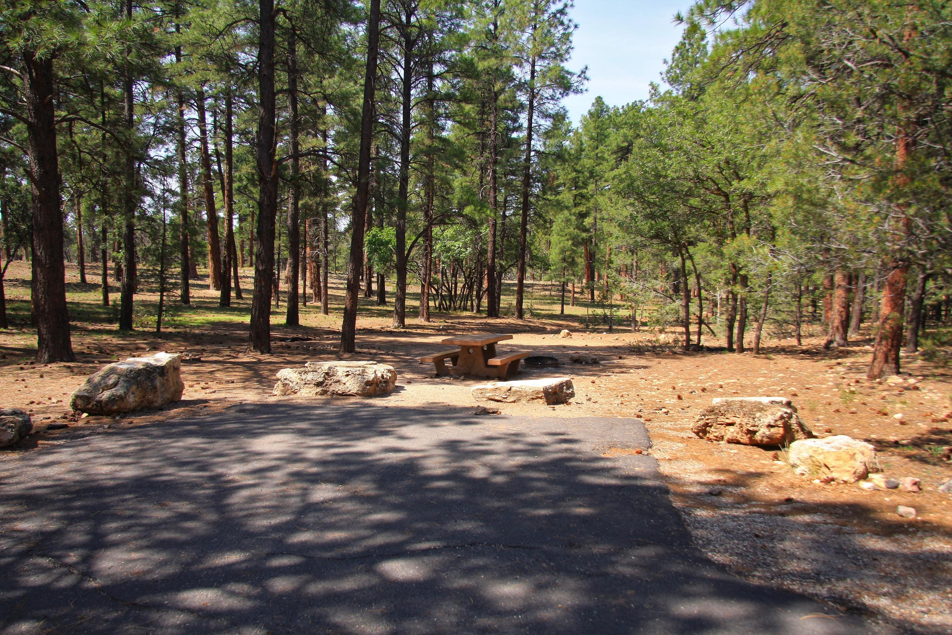 Picnic table, fire pit, and parking spot, Mather CampgroundPicnic table, fire pit, and parking spot for Juniper Loop 145, Mather Campground