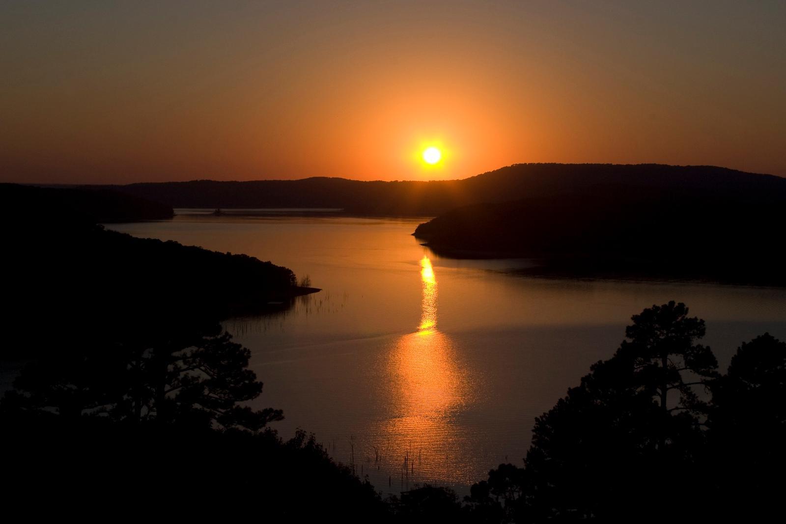 Beaver Lake at sunsetAerial of beaver lake at sunset