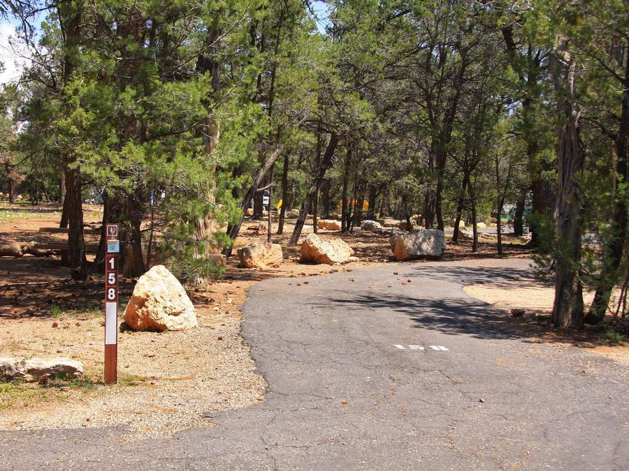 Picnic table and parking spot, Mather CampgroundPicnic table and parking spot for Juniper Loop 158, Mather Campground