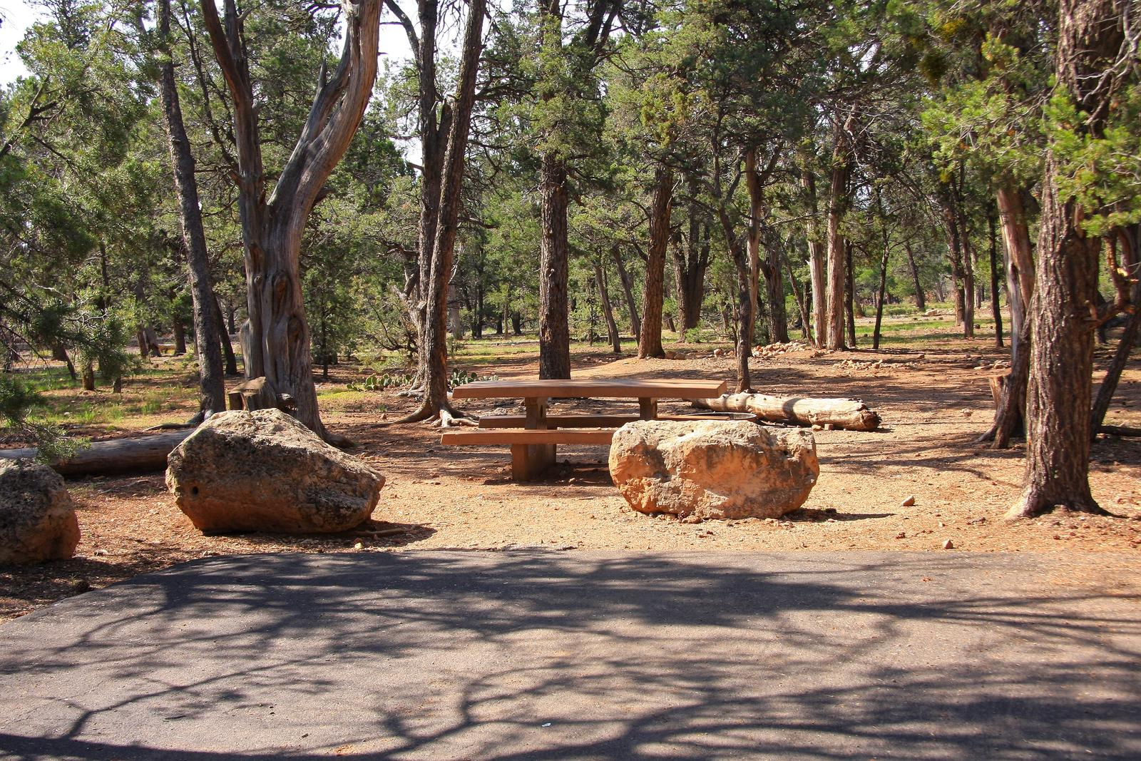 Picnic table, fire pit, and parking spot, Mather CampgroundPicnic table, fire pit, and parking spot for Juniper Loop 159, Mather Campground