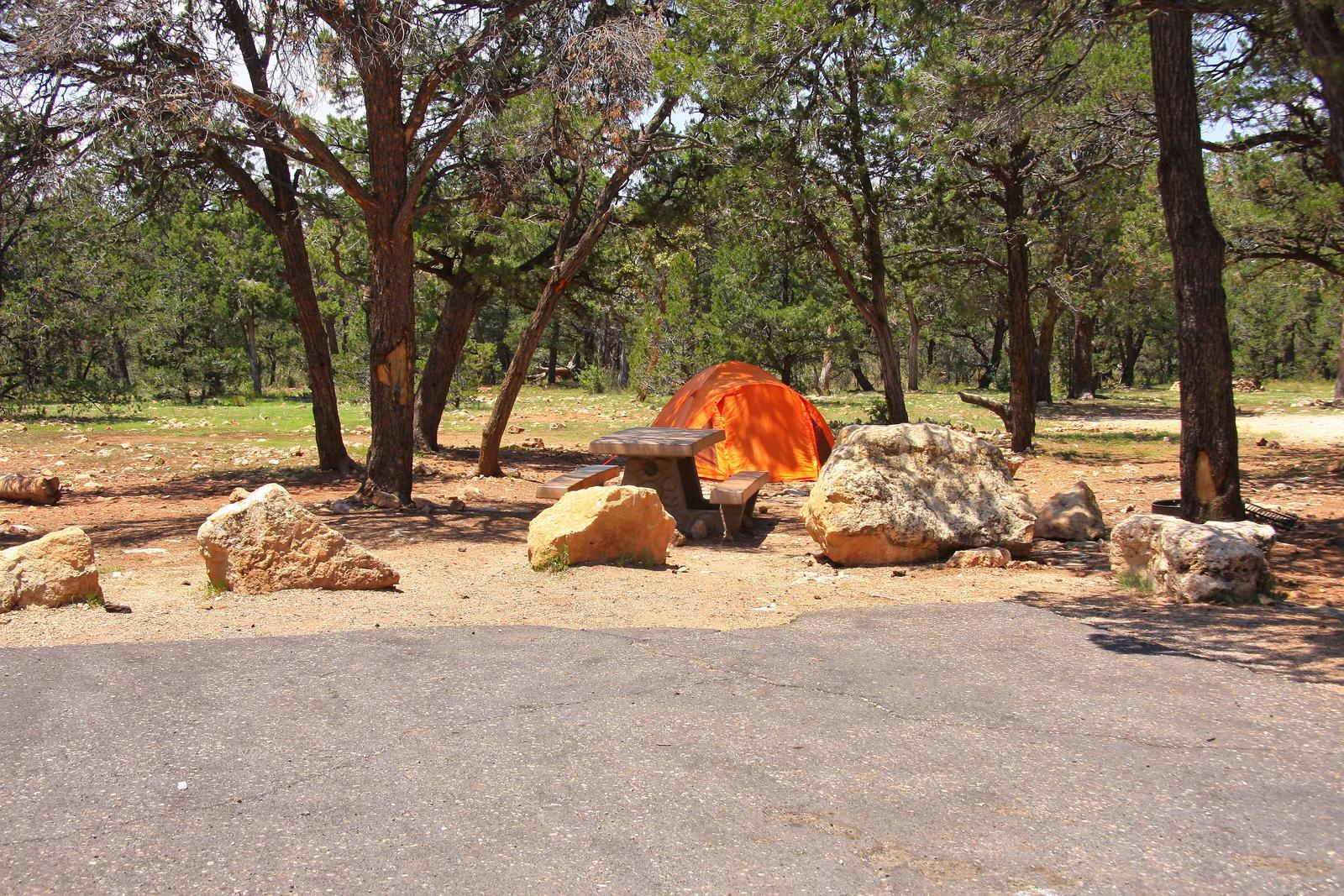 Picnic table, fire pit, tent, and parking spot, Mather CampgroundPicnic table, fire pit, tent, and parking spot for Juniper Loop 168, Mather Campground