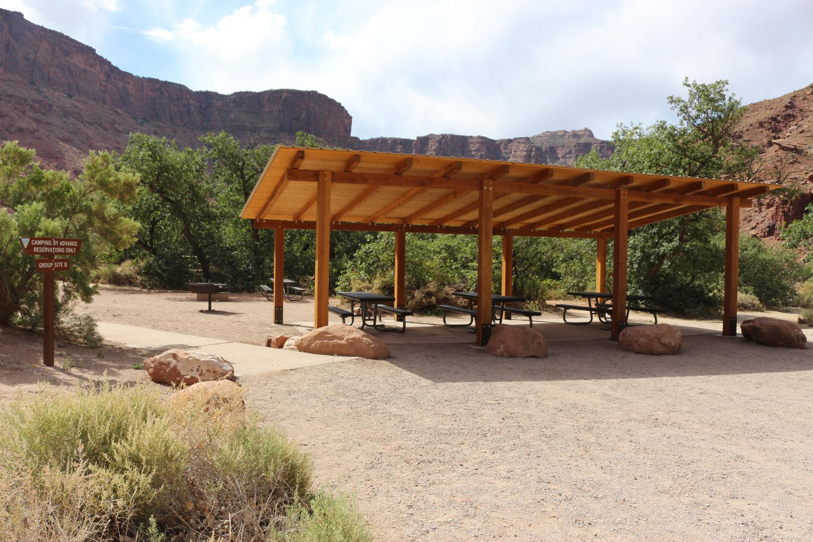 Big Bend Group Site B shade shelter with picnic tables.