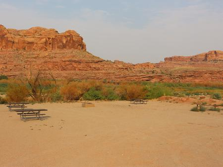 Gold Bar Group Site D picnic tables, fire rings, and a sandy, open area for tents. In the distance, vegetation lines the Colorado River with tall, red rock cliffs lining the horizon.
