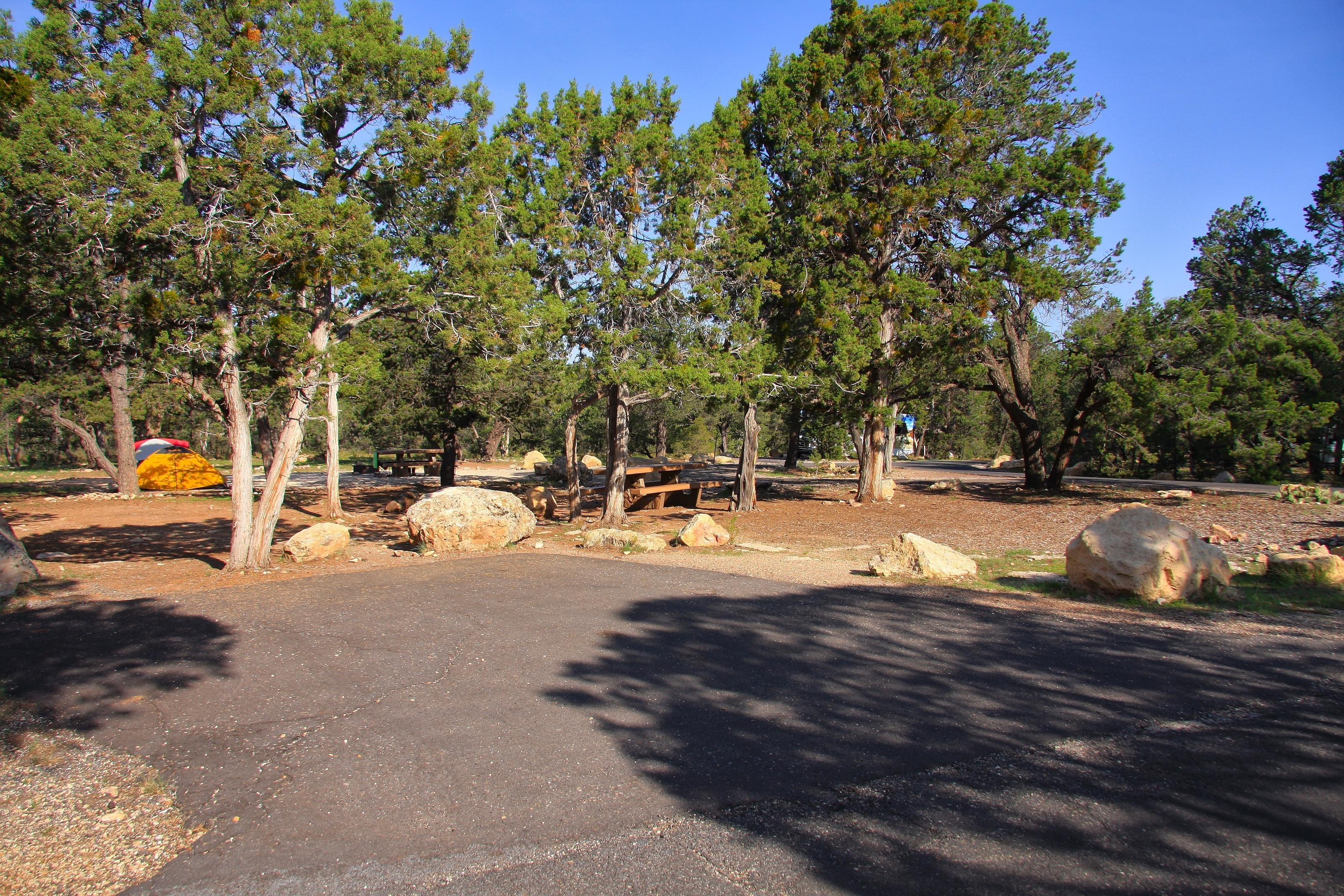 Picnic table, fire pit, and parking spot, Mather CampgroundPicnic table, fire pit, and parking spot for Juniper Loop 170, Mather Campground