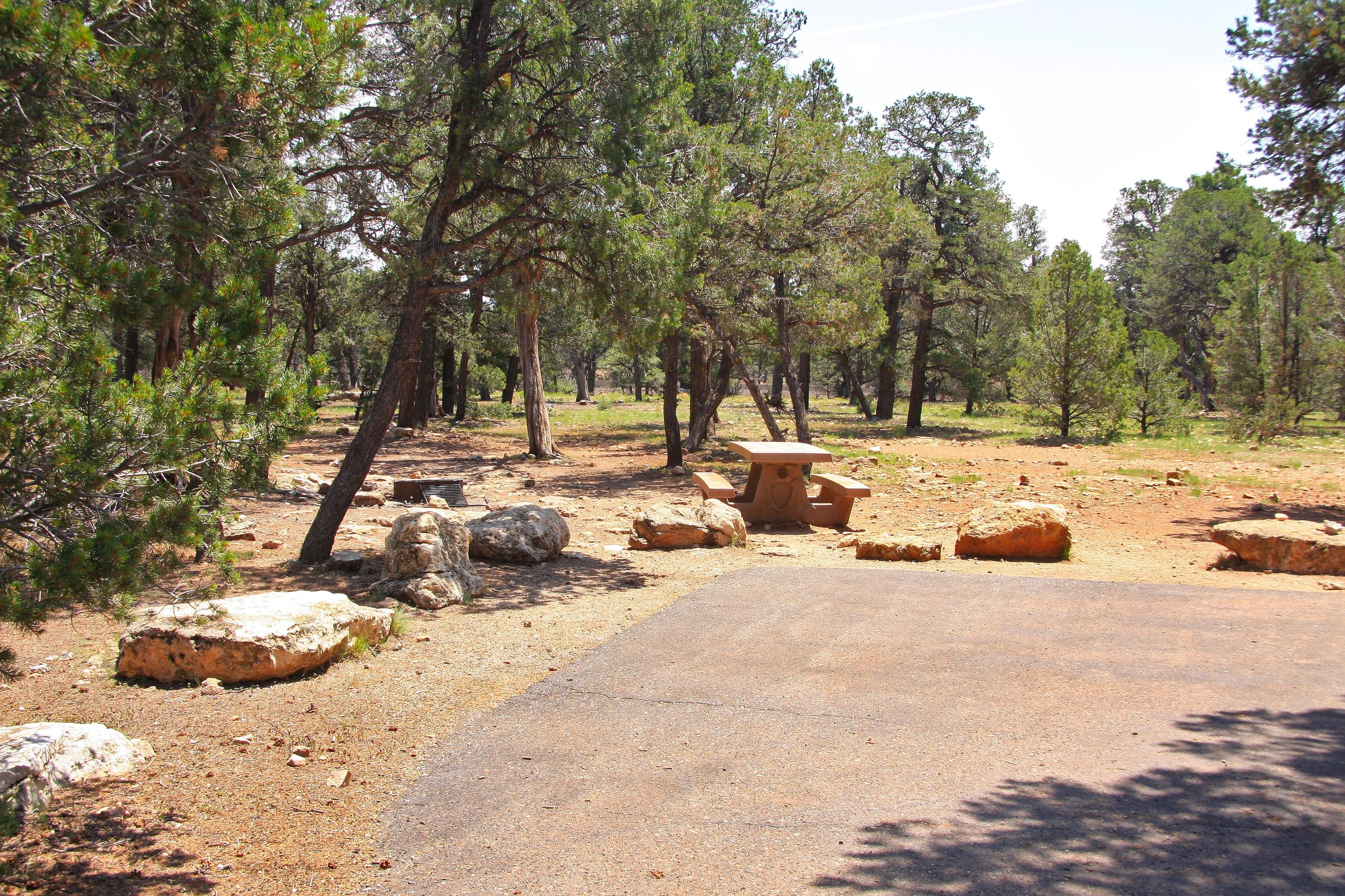 Picnic table, fire pit, and parking spot, Mather CampgroundPicnic table, fire pit, and parking spot for Juniper Loop 171, Mather Campground