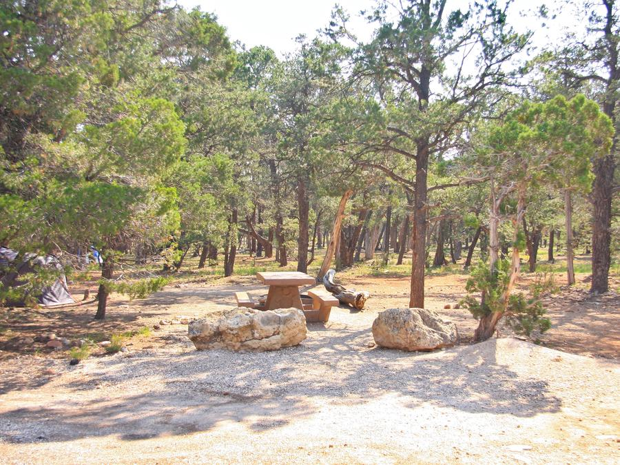 Picnic table, fire pit, and parking spot, Mather CampgroundPicnic table, fire pit, and parking spot for Juniper Loop 173, Mather Campground