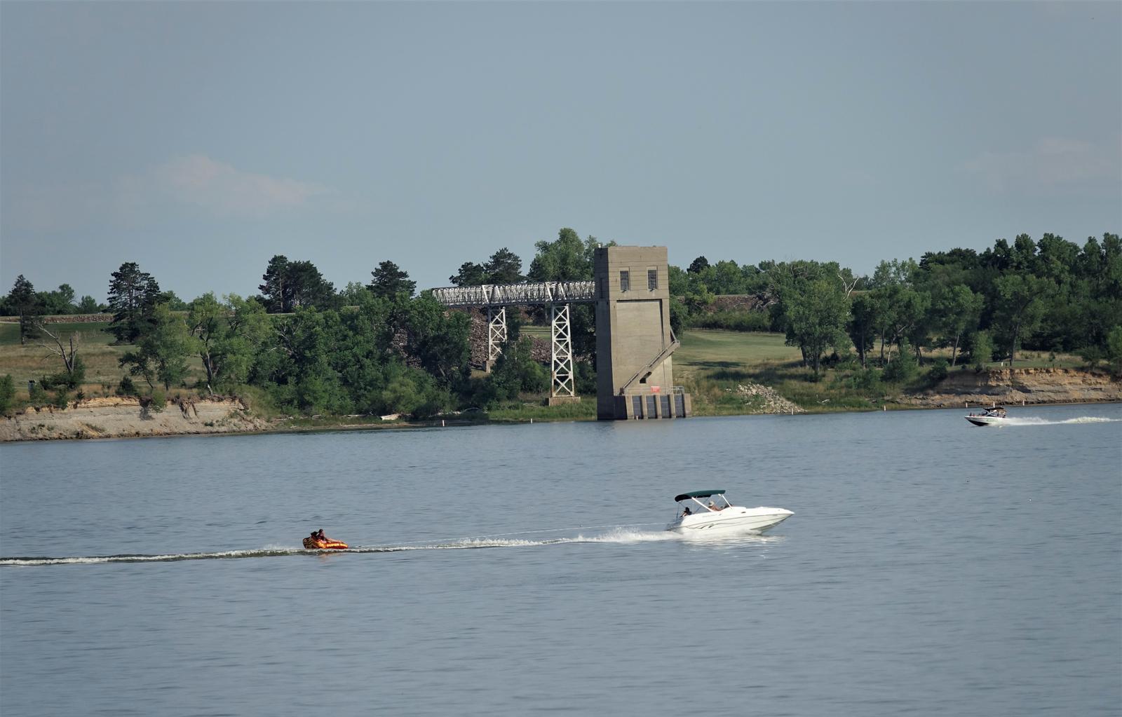 Kanopolis Lake BoatingControl Tower behind boating.