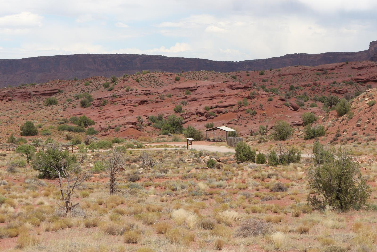 The Upper Onion Group Site A is tucked into the side of a hill. Vegetation in the area includes small shrubs covering most of the ground, with the occasional juniper tree dotting the landscape.