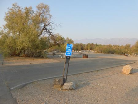 Furnace Creek Campground standard nonelectric ADA site #22 with accessible picnic table and fire ring
