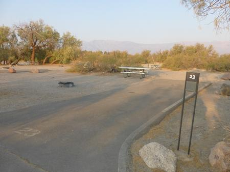 Furnace Creek Campground standard nonelectric site #23 with picnic table and fire ring