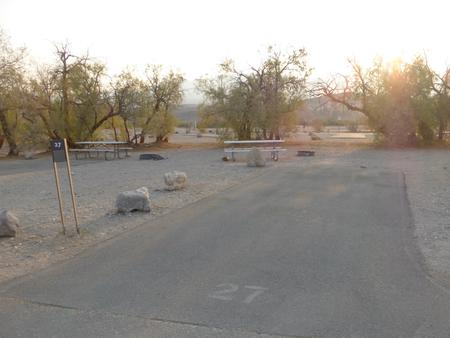 Furnace Creek Campground standard nonelectric site #27 with picnic table and fire ring.