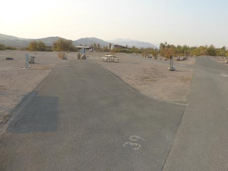 Furnace Creek Campground full hookup site #39. Water, sewer, and 30/50 amp electric connection. One fire pit and one picnic table.