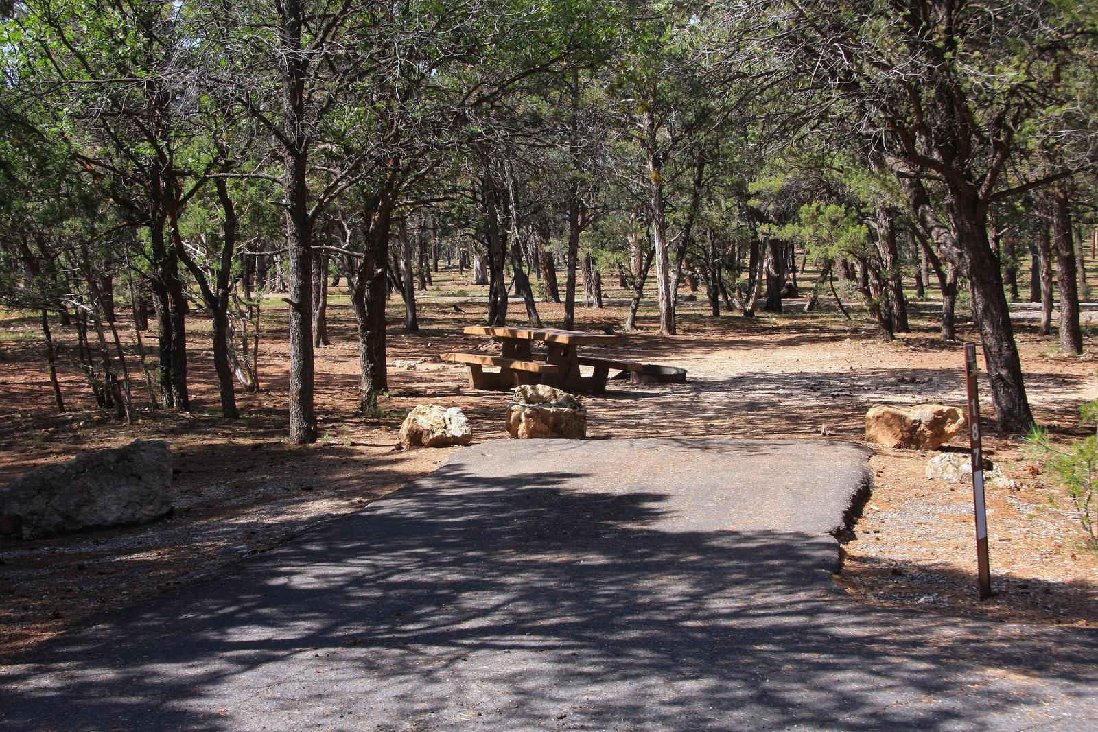 Picnic table, fire pit, and parking spot, Mather CampgroundPicnic table, fire pit, and parking spot for Maple Loop 187, Mather Campground