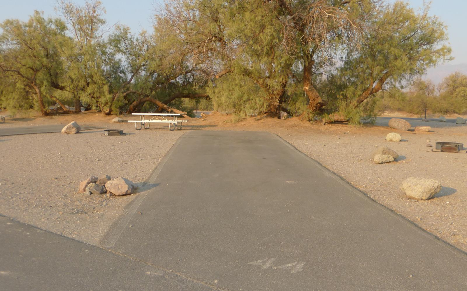 Furnace Creek Campground standard nonelectric site #44 with picnic table and fire ring.