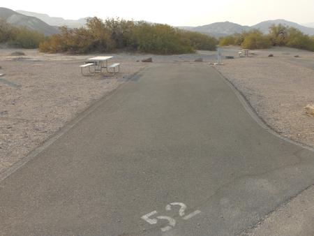 Furnace Creek Campground full hookup site #52. Water, sewer, and 30/50 amp electric connection. One fire pit and one picnic table.