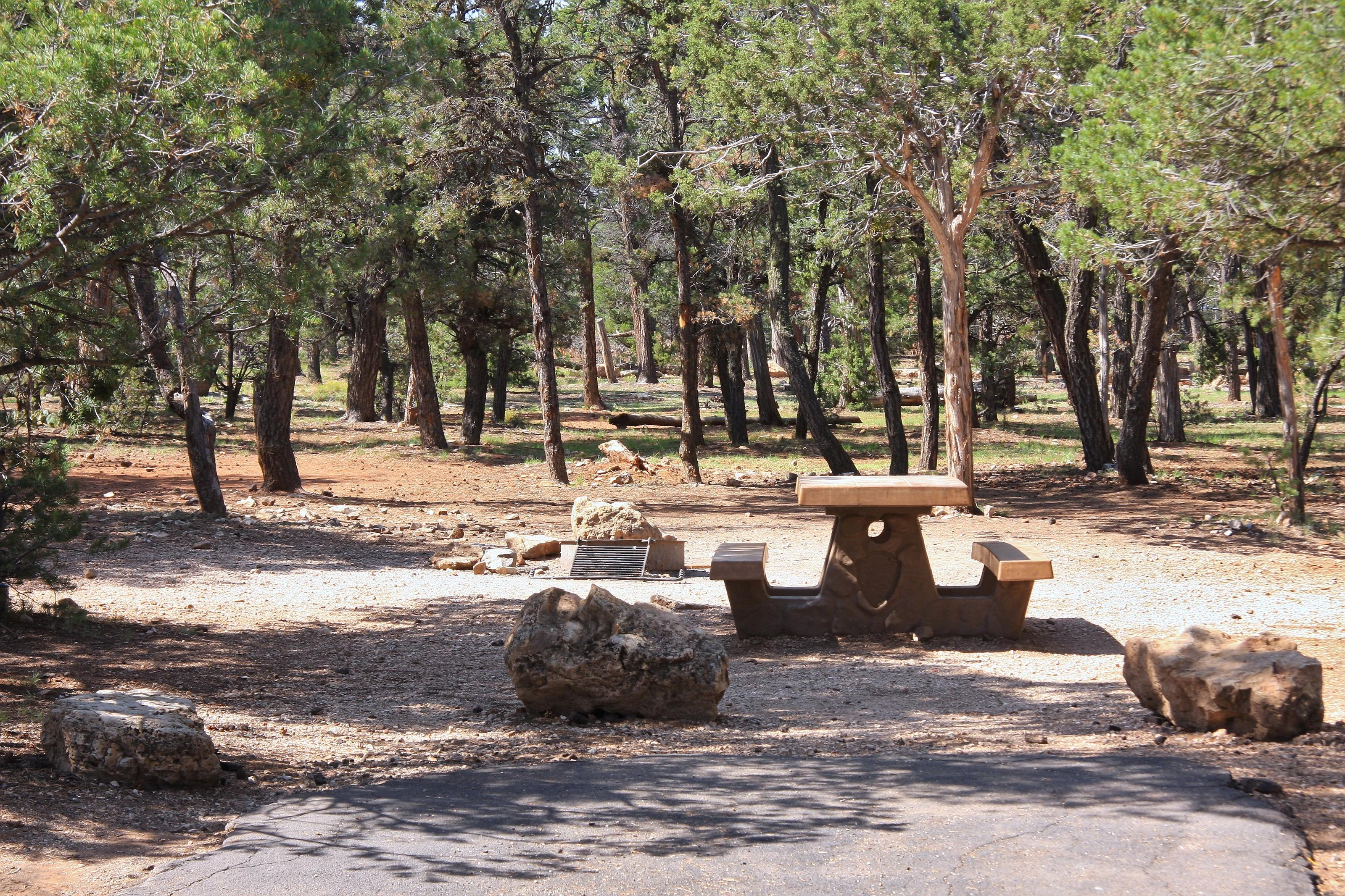 Picnic table, fire pit, and parking spot, Mather CampgroundPicnic table, fire pit, and parking spot for Maple Loop 190, Mather Campground