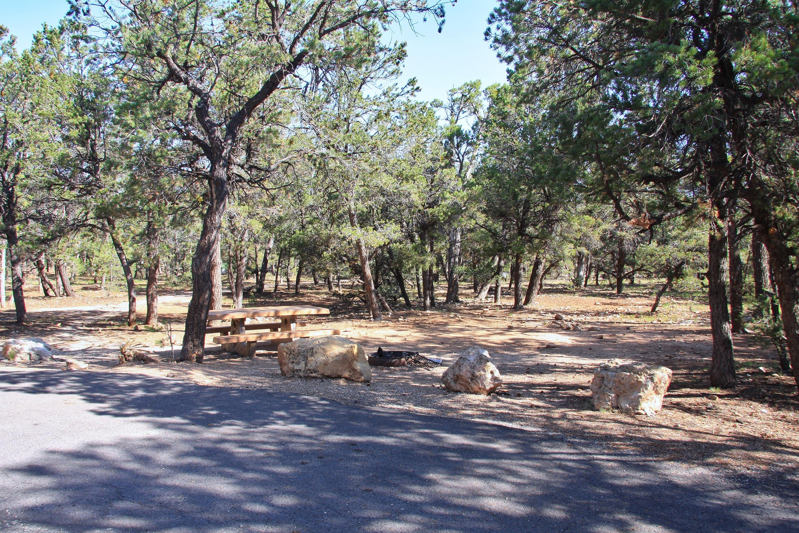Picnic table, fire pit, and parking spot, Mather CampgroundPicnic table, fire pit, and parking spot for Maple Loop 193, Mather Campground