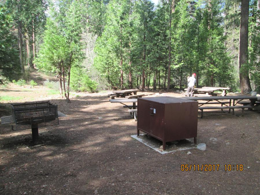Unit 1 kitchen area.Grill and bear proof food container at Unit 1.