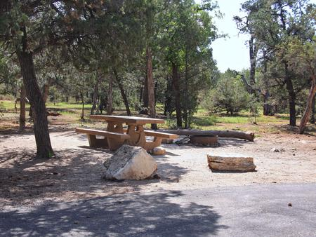 Picnic table, fire pit, and parking spot, Mather CampgroundPicnic table, fire pit, and parking spot for Maple Loop 197, Mather Campground