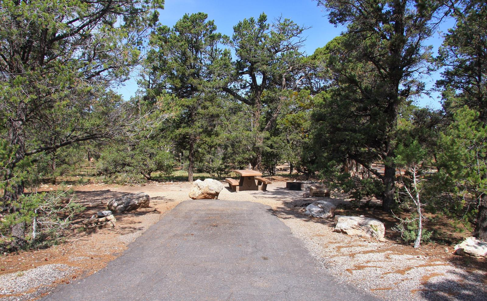 Picnic table, fire pit, and parking spot, Mather CampgroundPicnic table, fire pit, and parking spot for Maple Loop 198, Mather Campground