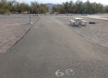 Furnace Creek Campground full hookup site #68. Water, sewer, and 30/50 amp electric connection. One fire pit and one picnic table.