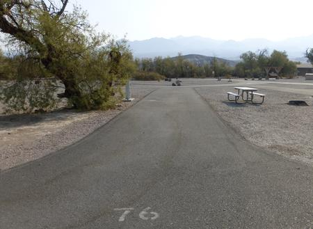 Furnace Creek Campground full hookup site #76. Water, sewer, and 30/50 amp electric connection. One fire pit and one picnic table.