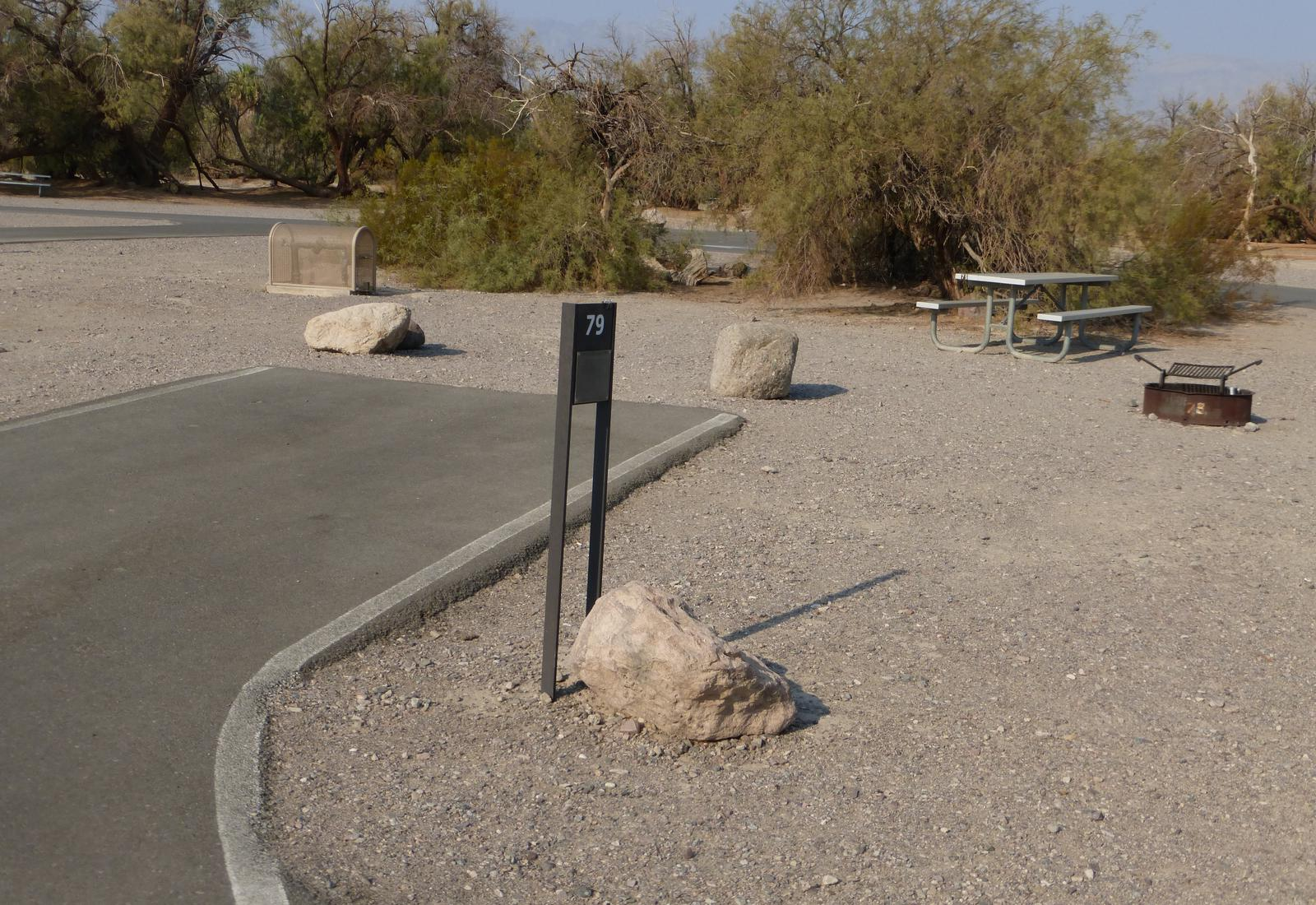 Furnace Creek Campground standard nonelectric site #79 with picnic table and fire ring.