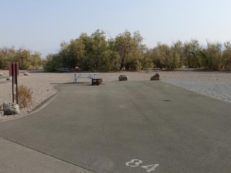 Furnace Creek Campground standard nonelectric ADA site #84 with accessible picnic table and fire ring.