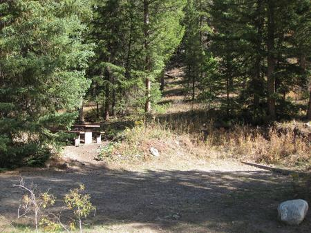 Site 22, campsite surrounded by pine trees, picnic table & fire ringSite 22