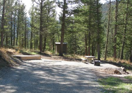 Site 39, campsite surrounded by pine trees, picnic table & fire ringSite 39