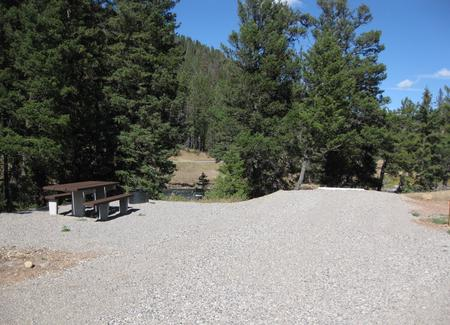 Site 53, campsite surrounded by pine trees, picnic table & fire ringSite 53