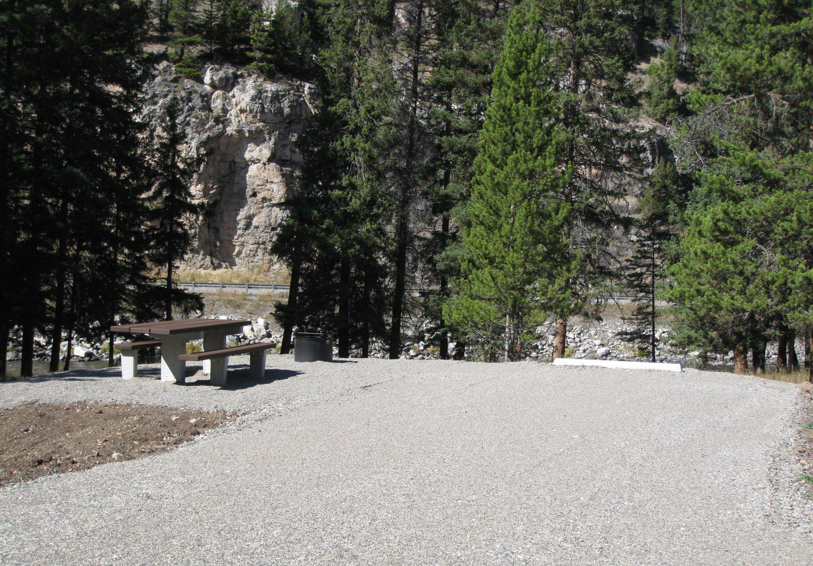 Site 59, campsite surrounded by pine trees, picnic table & fire ringSite 59