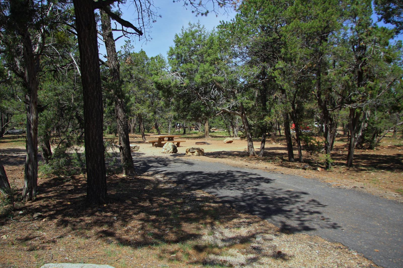 Picnic table, fire pit, and parking spot, Mather CampgroundPicnic table, fire pit, and parking spot for Oak Loop 202, Mather Campground