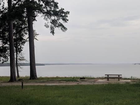Campsite in Rocky Point Campground overlooking Wright Patman Lake.
