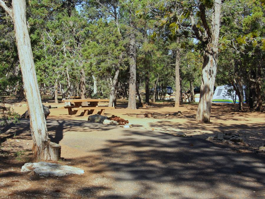 Picnic table, fire pit, and parking spot, Mather CampgroundPicnic table, fire pit, and parking spot for Oak Loop 214, Mather Campground