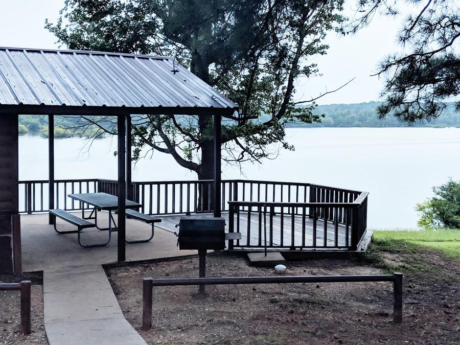 Screened shelter in Clear Springs Campground overlooking Wright Patman Lake.