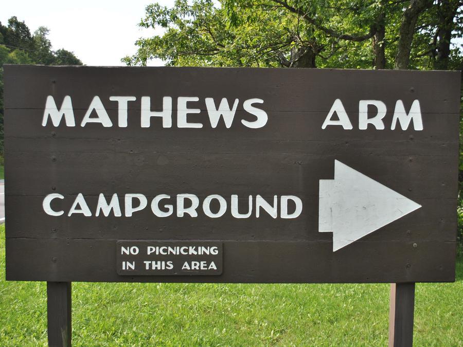 Mathews Arm Campground Northern Entrance Sign