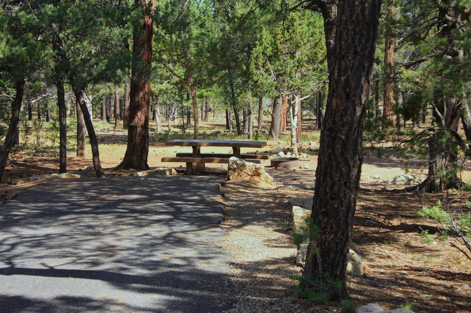 Picnic table, fire pit, and park spot, Mather CampgroundPicnic table, fire pit, and park spot for Oak Loop 226, Mather Campground
