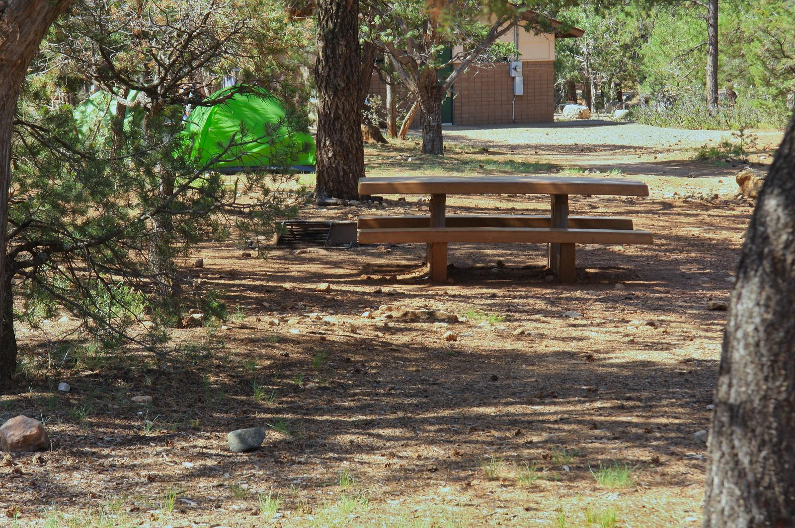 Picnic table, fire pit, and park spot, Mather CampgroundPicnic table, fire pit, and park spot for Oak Loop 228, Mather Campground