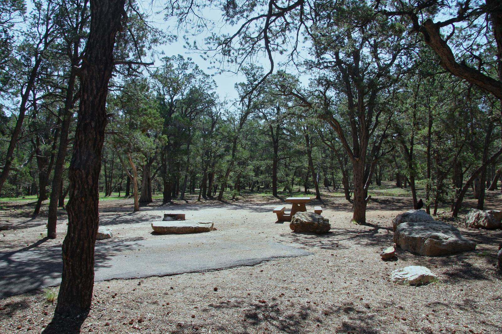 Picnic table, fire pit, and park spot, Mather CampgroundPicnic table, fire pit, and park spot for Oak Loop 234, Mather Campground