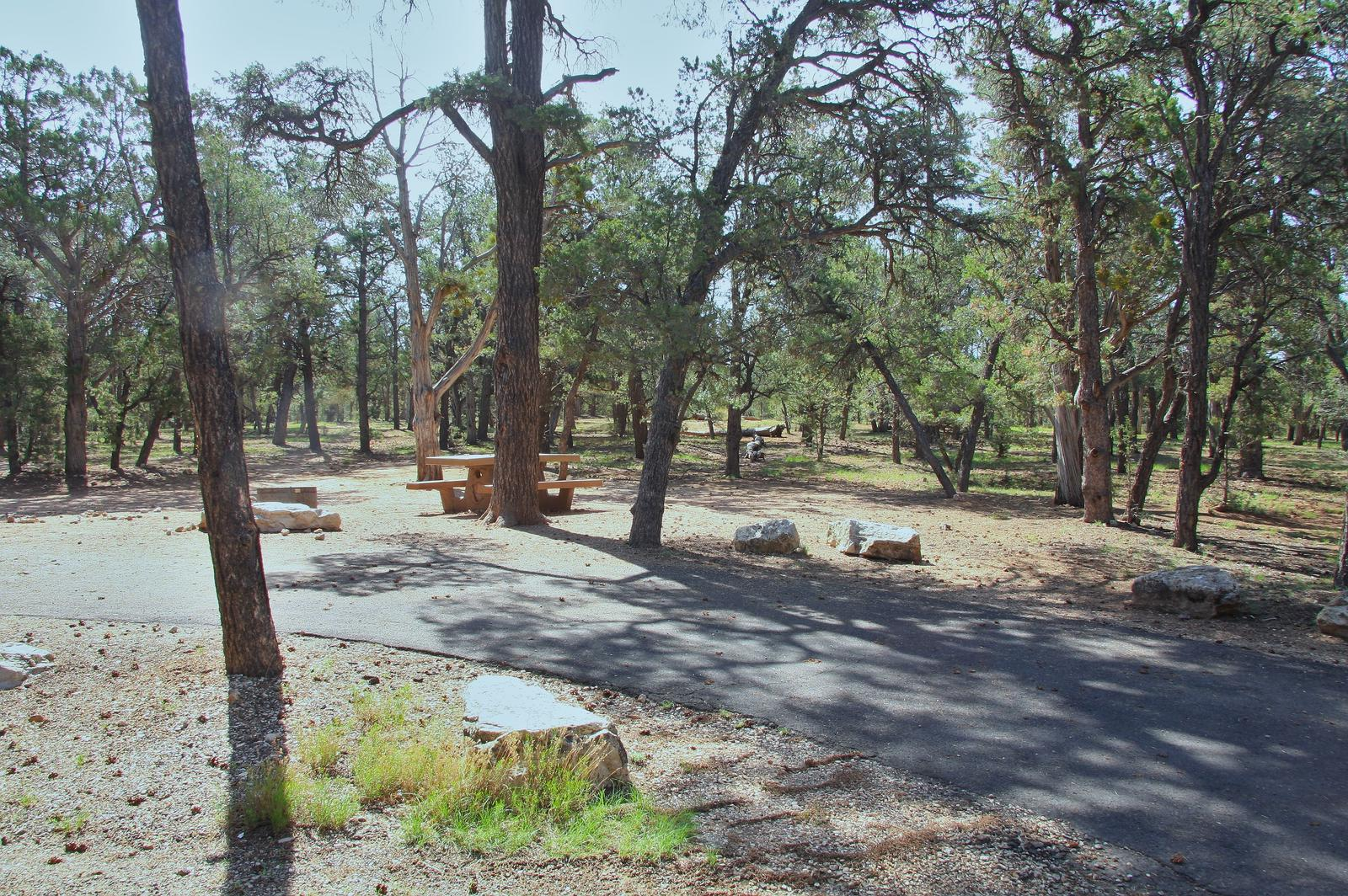 Picnic table, fire pit, and park spot, Mather CampgroundPicnic table, fire pit, and park spot for Oak Loop 237, Mather Campground